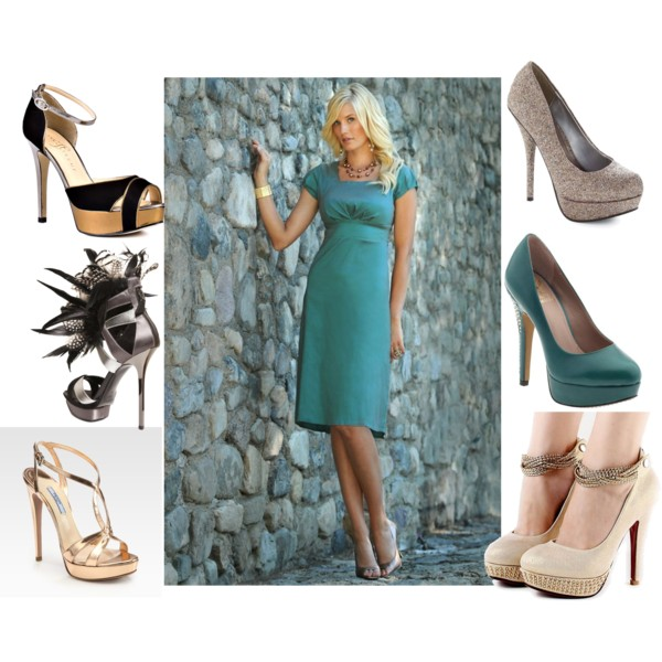 gold pumps, teal pumps, designer heels, turquoise dress, bridesmaid dress and shoes