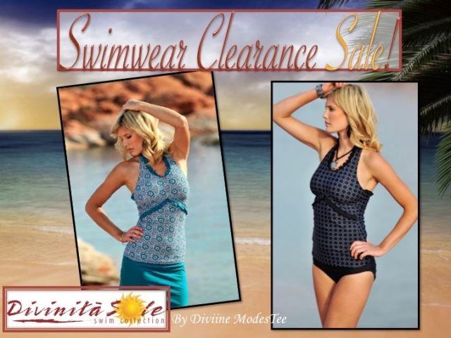 swim clearance sale, divinita sole swimwear, diviine modestee swimwear, women's swimwear, modest swimsuits