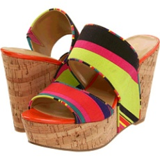 Multi-colored wedges perfect for your black or red swimsuit!