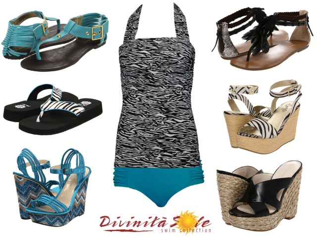 Zebra-stripe swimsuit, modest swimsuit, diviine modestee, divinita sole swimwear