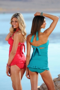 Open-back Ruched Halter: Coral and Turquoise