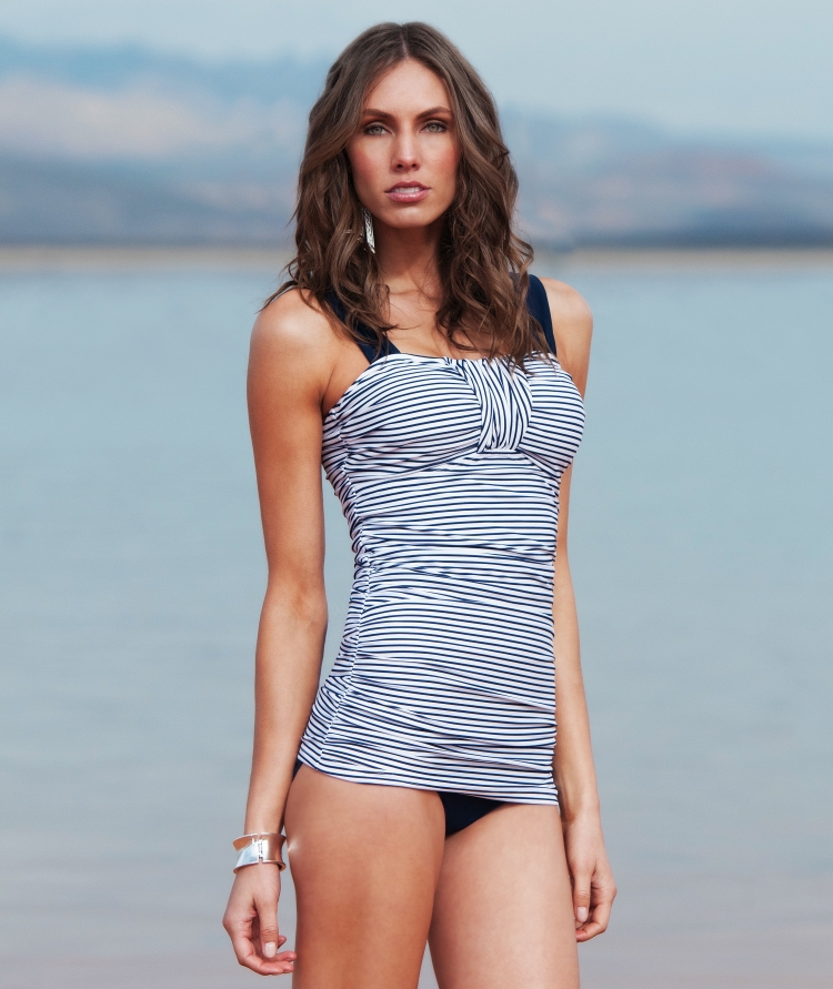 Ruched Bandeau in Nautical Blue Stripe